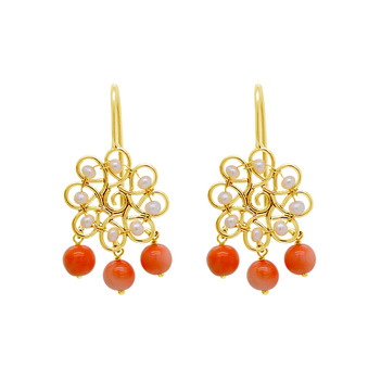 Winsome Pearl and Coral Earrings