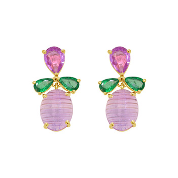 Groovy Pink Sapphire, Amethyst & Emerald Gold Stud Earrings