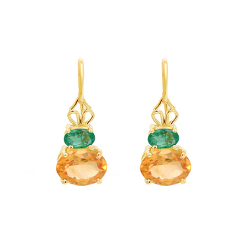 Smoldering Citrine & Emerald Gold Earrings
