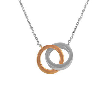 Sterling Silver White and Rose Circle Pendant with Chain