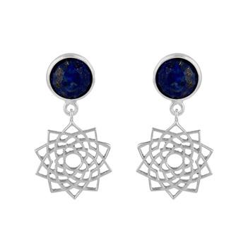 Sterling Silver Lapis Lazuli Mandala Drop Earring