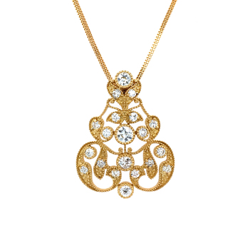 Dazzling 22K Gold and Old-Mine Cut Diamond Pendant