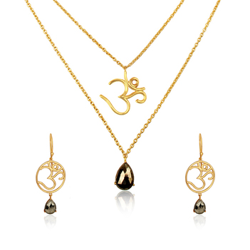 Sterling Silver Pyrite Om Pendant and Earring Set