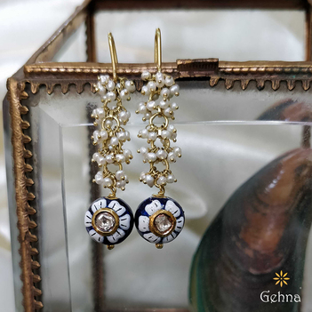 Enamel Floral Pearl & Uncut Diamond Hook Earrings
