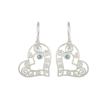 Sterling Silver Blue Topaz Heart Shape Earring