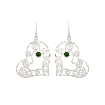 Sterling Silver Peridot Heart Shape Earring