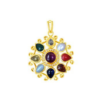Archetypal Navaratna Gold Pendant