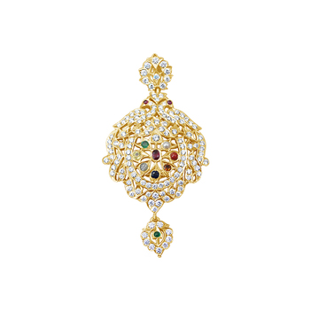 Statuesque Navaratna and Diamond 22K Gold Pendant