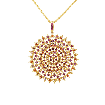 Vivid Sapphire and Ruby Mandala Gold Pendent