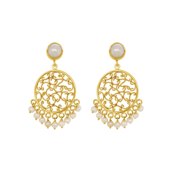 Pearl Drop Filigree Stud Earring