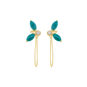 Turquoise & Pearl Petal Earrings