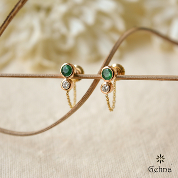 Diamond & Emerald Gold Chain Earrings