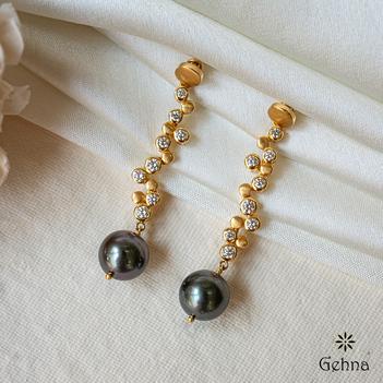 Tahitian Pearl and Diamond Drop Earring