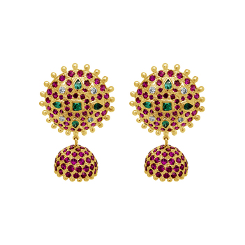 Royal Ruby 18K Gold Jhumki