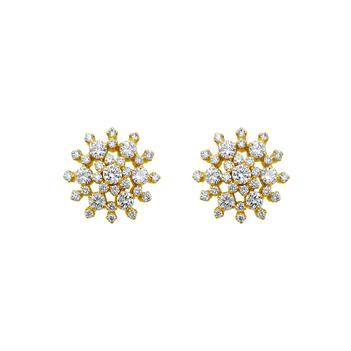 18K Gold & Diamond Floral Studs