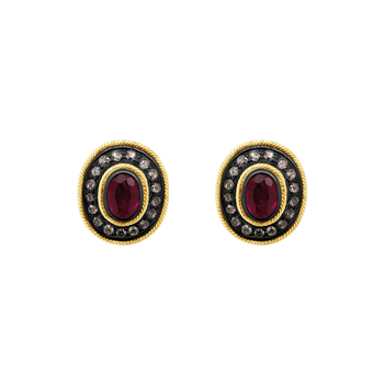 Diamond & Ruby Oval Stud Earrings