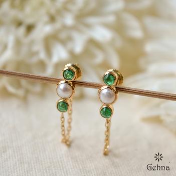 Delicate Pearl & Emerald Stud Earring