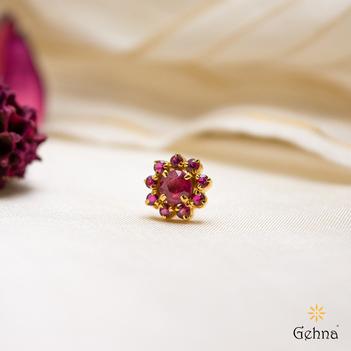 Royal Ruby 22K Gold Nosepin