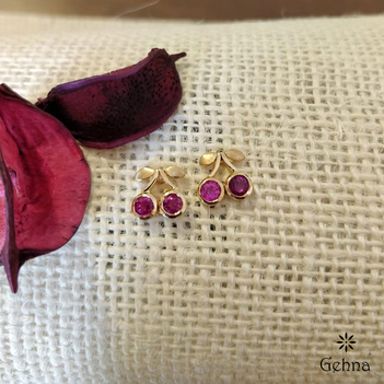 Dainty Ruby Stud Earrings in 18K Gold