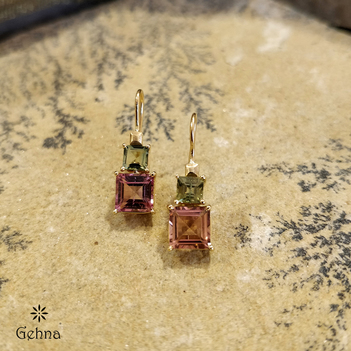 Elegant Pink and Green Tourmaline 18K Gold Earrings