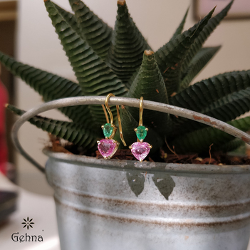 Radiant Pink Sapphire and Emerald Hook Earrings