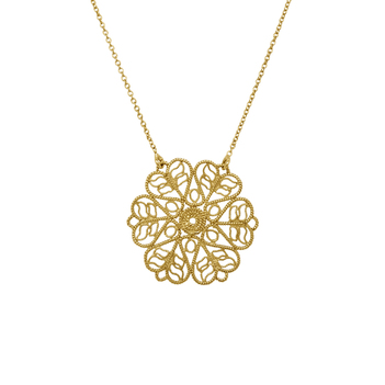 Graceful 18K Gold Filigree Pendant (With Chain)
