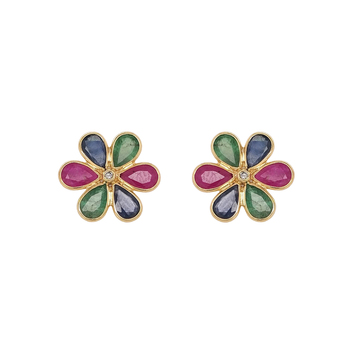 Blossoming Floral Gemstone 18K Gold Stud Earrings