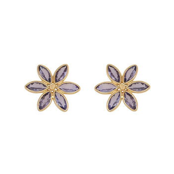 Floral Tanzanite 18K Gold Studs Earrings