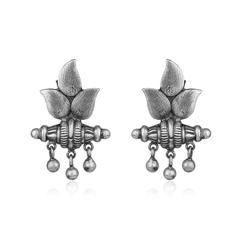 Trendy Oxidised Silver Stud Earrings
