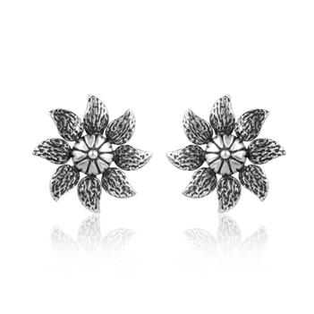 Floral Oxidised Silver Stud Earring