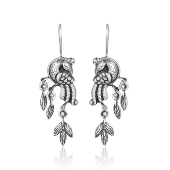 Regal Oxidised Silver Hook Earrings