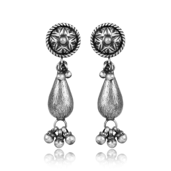 Ravishing Oxidised Tribal Silver Earrings