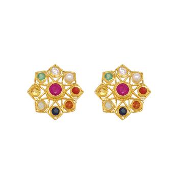 Kaleidoscopic Navaratna 925 Sterling Silver Stud Earrings