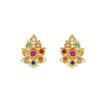 Eternally Radiant Navaratna 925 Sterling Silver Stud Earrings
