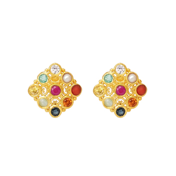 Royal Navaratna 925 Sterling Silver Stud Earrings