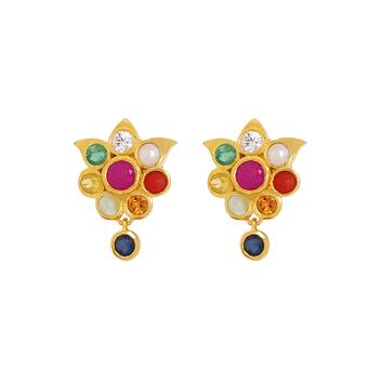Captivating Navaratna 925 Sterling Silver Stud Earrings