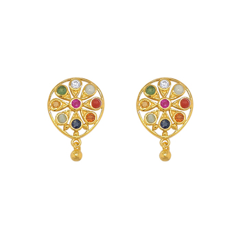 Enamouring Gems Navaratna 925 Sterling Silver Stud Earrings