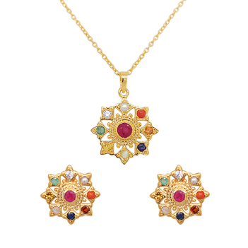 Artistic Gems Navaratna 925 Sterling Silver Stud Earrings and Pendant Set (with chain)