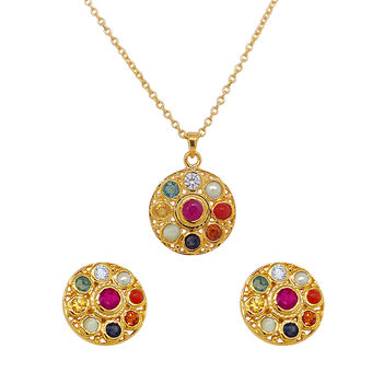 Bold Gemstones Navaratna 925 Sterling Silver Earrings and Pendant Set (with chain)