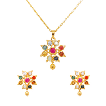 Tantalizing Navaratna 925 Sterling Silver Stud Earrings and Pendant Set (with chain)