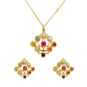 Regal Navaratna 925 Sterling Silver Stud Earrings and Pendant Set (with chain)