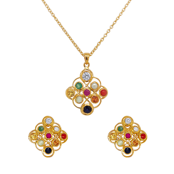 Glowing Natural Navaratna 925 Sterling Silver Earrings and Pendant Set (with chain)