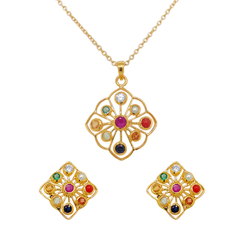 Marvellous Navaratna 925 Sterling Silver Earrings and Pendant Set (with chain)