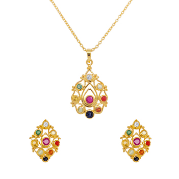 Traditional Navaratna 925 Sterling Silver Stud Earrings and Pendant Set (with chain)