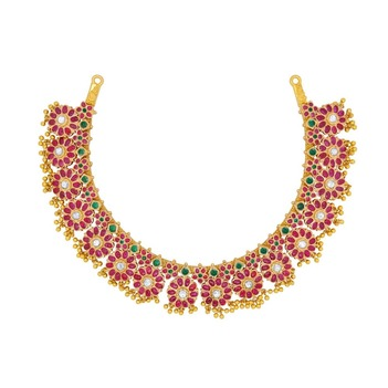 Royal Kempu Ruby and Emerald 22K Gold Necklace