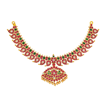 Kempu Ruby Mango Mala 22K Gold Necklace