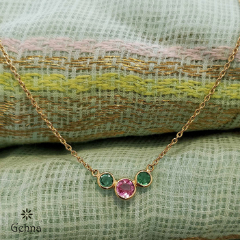 Fetching Pink Sapphire and Emerald 18k Gold Chain (16 inches)