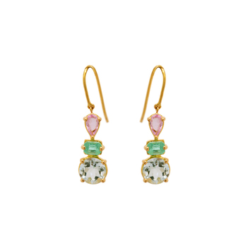Elegant Pastel Gemstones 18K Gold Hook Earrings