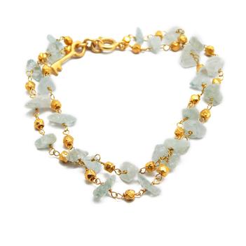 Everlasting Beauty 925 Sterling Silver Aquamarine Bracelet