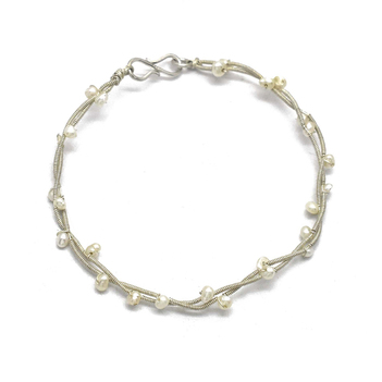 Elegant Pearl and 925 Sterling Silver Bracelet